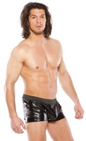 Zeus Wet Look Slashed Shorts