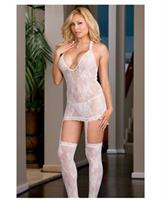 Floral stretch lace halter dress with attached garters and thigh high stockings white