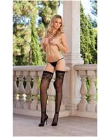 Fishnet thigh high stockings with lace detail (thong not included) black