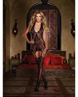 Halter Garter Dress with Baroque Design and Attached Stockings