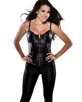 Faux Leather Corset w/Adjustable Straps, Underwire Cup and Acrylic Boning Black