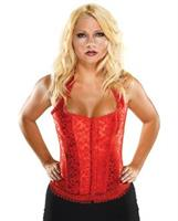 Halter Floral Print Corset w/Hook and Eye Closures and Acrylic Boning Red