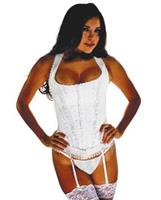 Brocade Pattern Razor Back Corset w/Hook and Eye Front Closure and Acrylic Boning Ivory