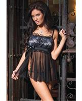 Mesh side slit babydoll with lace over satin top and g-string