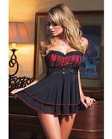 Lycra mesh babydoll with padded cups and g-string