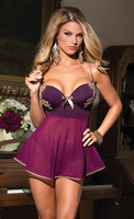 Microfiber and Mesh Babydoll with G-String