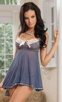 Scalloped Stretch Lace and Mesh Babydoll with G-String