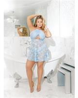 Stretch Lace and Knit Babydoll w/Elasticized Underbust and Thong Blue