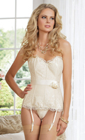 Fully Boned Satin and Lace Corset with Removable Straps and Garters