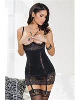 Knit Chemise w/Lace Demi Cups and Removable Garters and Hook and Eye Back Closure Black LG