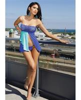 Reversible Microfiber Babydoll w/Lace Bandeau Top, Tie Babydoll Open or Closed Cobalt/Aqua O/S