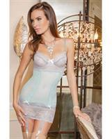 Mesh and Scalloped Stretch Lace Chemise w/Adjustable Straps and Removable Garters Misty Blue/Grey