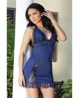 -Microfiber Stretch Lace Peek a Boo Cup Chemise Navy
