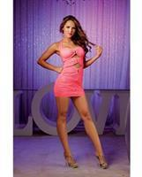 Rouched Halter Tie Dress w/Front Cut Outs Flamingo Pink