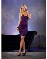 Stretch Jersey Ruched Dress w/Built in Underwire Lace Bra Plum