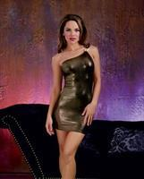 Gold Overlay Stretch Jersey Mini Dress Gold