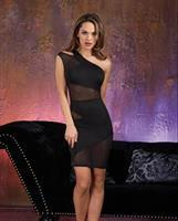 Microfiber and Sheer Mesh Illusion Dress Black
