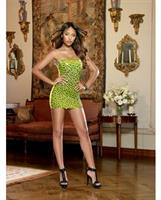 Seamless Leopard Print Strapless Dress and G-String