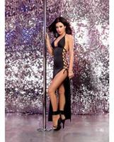 Stretch Jersey Full Length Unlined Halter Dress w/Open Sides and Adjustable Lace Up Ties Black