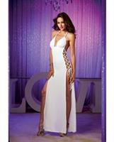 Stretch Jersey Full Length Unlined Halter Dress w/Open Sides and Adjustable Lace Up Ties White