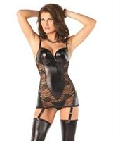 Darque Wet Look Chemise w/Stretch Lace and Mlded Undrwire Cps, Adjst Straps and Rmvable Grts Black