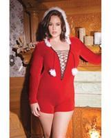 Holiday Stretch Velvet Hooded Romper w/Faux Trim, and Pom Poms Red