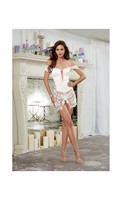 Venice Lace Fully Boned Corset w/Hi-Low Attached Skirt and Thong Pearl