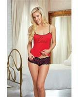 Valentines Love Knit Camisole and Panty Lipstick Red