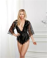 Holiday Satin and Sequined Chiffon French Cut Romper Black