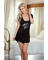 Valentines Jersey Open Back Wake Me With A Kiss Sleepshirt Black
