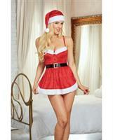 Holiday Stretch Velvet Apron Chemise w/Hat Lipstick Red