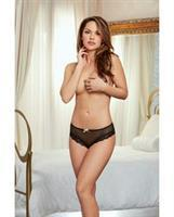 Holiday Stretch Mesh Cheeky Panty Black/Gold