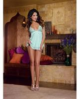 Stretch Lace Mesh Flyaway Back Babydoll and Thong Aqua LG