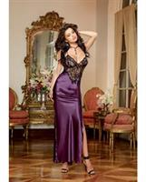 Satin Charmeuse Full Length Gown w/Adjustable Criss Cross Straps and Thong Plum