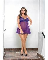 Halter Tie Babydoll w/Lace Cups and G-String Purple