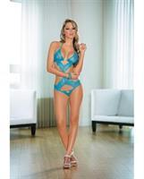 Lace Teddy w/Cutouts Ocean Blue/Lime