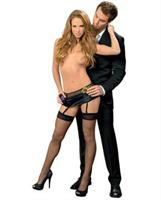 Fishnet and Stretch Satin Toolbelt Garterbelt w/Hose