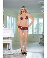 Halter Tie Bow Front Tri Top and Micro Skirt w/Mesh Underlay and g-String White/Red