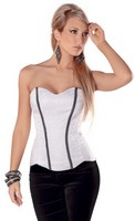 Chain Trim Corset with Side Zipper and Lace Up Back