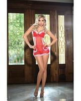 Valentines Heart Mesh Apron Chemise w/Adjustable Straps, Underwire Cups and G-String Red/Whte