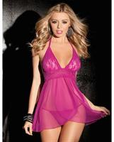 Stretch Mesh Halter Tie Babydoll and G-string