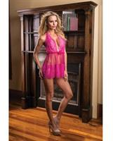 Valentines Sheer Mesh and Printed Lace Halter Chemise Fuchsia M/L