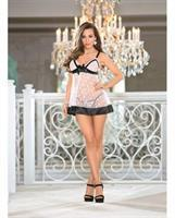 Holiday Lace, Satin and Mesh Polka Dot Baby Doll w/Adjustable Straps and G-String Baby Pink/Black