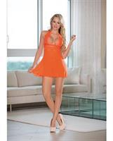 Sheer Halter Tie Baby Doll w/Lace Sunset