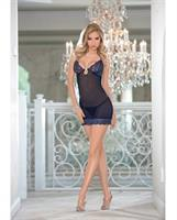 Holiday/Valentines Jewel Front Chemise Navy