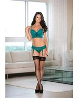 Balconette Bra and Garterbelt w/Hose Teal