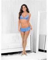 Bra and Panty w/Garter Straps Sky Blue