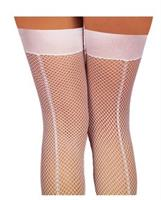 Fishnet thigh high with back seam white