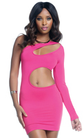 One Sleeve Bodycon Dress with Keyhole and Wrap Around Cutouts