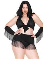 Curve Sassy in the Saddle Collared Top, Skirt, Cuffs, Skirt and Panty Black/White